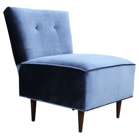 fantastic blue velvet slipper chair at 1stdibs