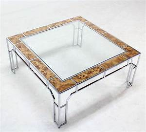 mid century modern chrome and glass square coffee table With contemporary glass and chrome coffee table