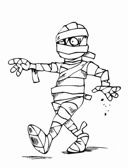 Mummy Coloring Pages Halloween Clipart Funny Zombie