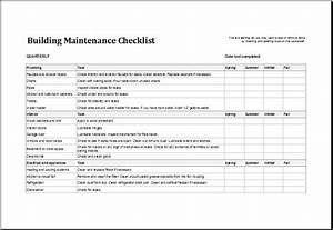 7 facility maintenance checklist templates excel templates With facilities management report template
