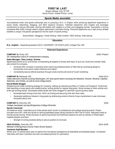Chronological Resume Sle For College Student by Best Resume Exles For College Students Best Resume