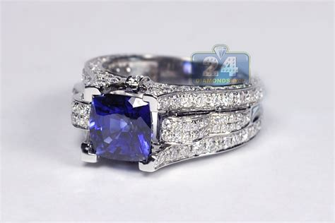 womens sapphire diamond vintage engagement ring  white gold