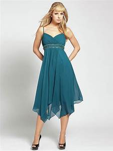 spaghetti v neckline beaded band empire waist tea length With wedding guest dresses for 20 year olds