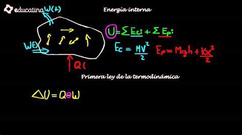 Energia Interna Termodinamica by Educatina Energ 237 A Interna Y Primera Ley De La Termodin 225 Mica