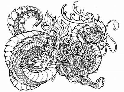 Coloring Pages Dragon Printable Adults Cool Adult