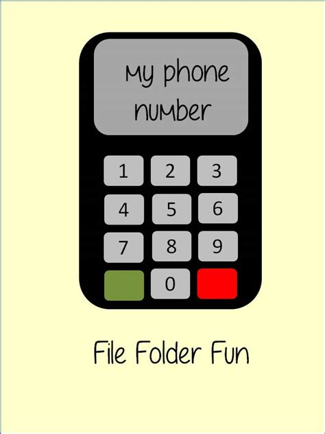 My Phone Number File Folder Fun  Games & Activities For Family Night