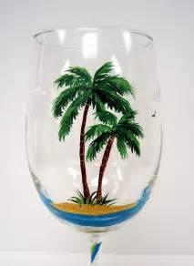Palm Tree Painted Wine Glasses