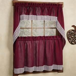 bed bath n more burgundy country style kitchen curtains