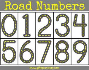 road numbers printable for learning how to write numbers
