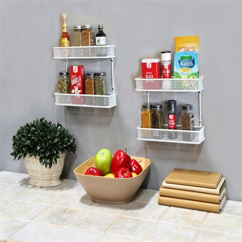 Counter Spice Rack by Seville Classics 2 Tier White Countertop And Wall Mount