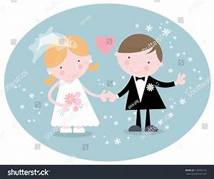 Cute Bride And Groom Characters Stock Vector Illustration ...