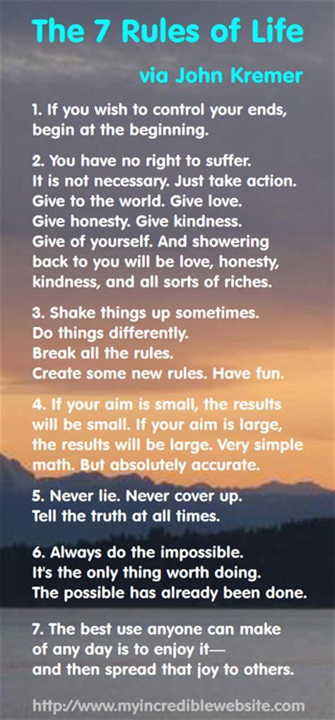 John Kremer The 7 Rules Of Life  Infographic A Day
