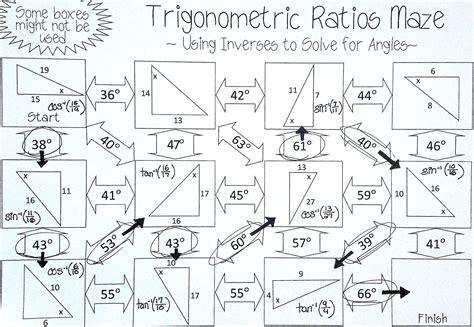 Inverse Trigonometric Ratios (sine, Cosine & Tangent) Maze  Solving For Angles Matematica59