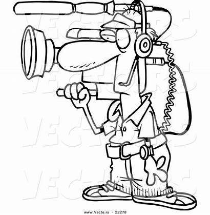 Camera Cartoon Outline Coloring Working Toonaday Leishman