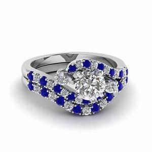 round cut swirl halo diamond matching wedding ring sets With swirl diamond wedding ring set