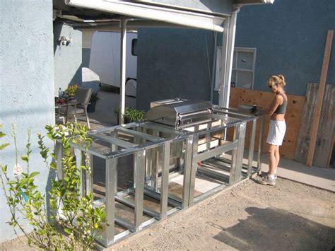 resplendent outdoor kitchen frame plans  minimalist prefab steel stud outdoor kitchen island