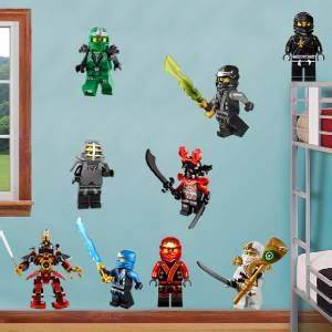 ninjago lego 9 characters decal removable wall sticker With coolest ninjago wall decals