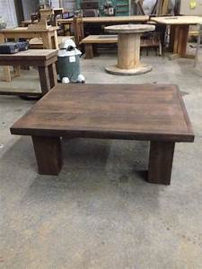 Dark stained chunky leg coffee table reclaimed wood for Dark reclaimed wood coffee table