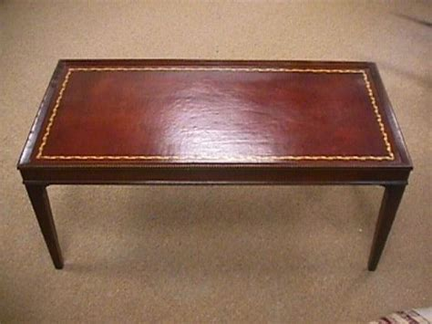 Antique Coffee Tables Wleather Inlay  83 1950's Vintage