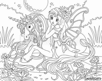 Unicorn Coloring Princess Pages Colouring Fairy Illustration
