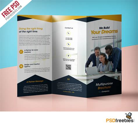 Free Brochure Psd Templates by Professional Corporate Tri Fold Brochure Free Psd Template