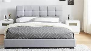 Lit En 160x200 : lit adulte avec t te de lit capitonn e en tissu gris clair ~ Teatrodelosmanantiales.com Idées de Décoration