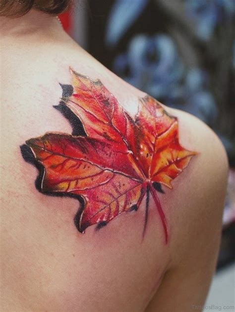 attractive leaves tattoos  shoulder