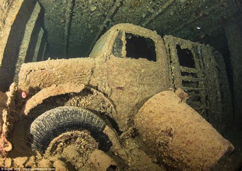ii war sea ship navy british bedford abandoned thistlegorm truck jolly inside cargo sunken still visible ss found star barnacle