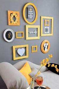 29 stylish grey and yellow living room decor ideas digsdigs With kitchen colors with white cabinets with empty picture frame wall art