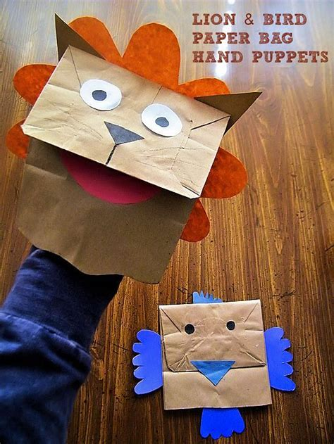 bird paper bag puppets animals activities for puppet crafts toddler crafts