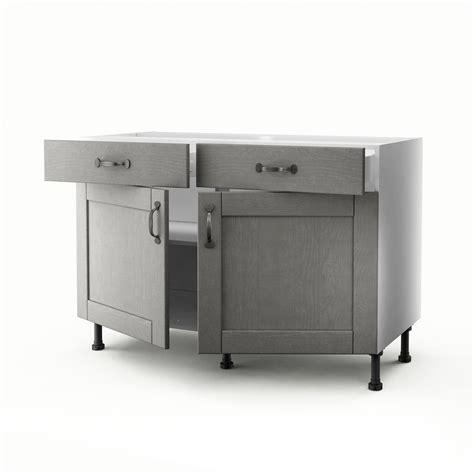 meubles cuisine bas meuble de cuisine bas gris 2 portes 2 tiroirs nuage h 70