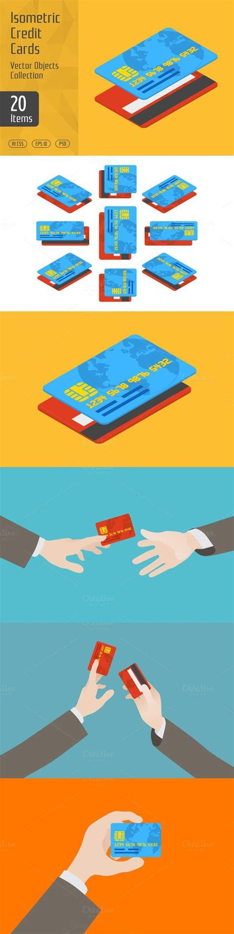 isometric credit cards business infographic