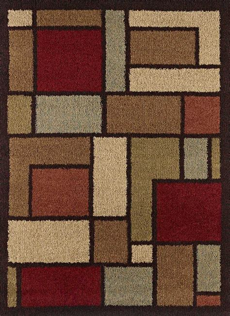 multi color contemporary blocks shag area rug modern
