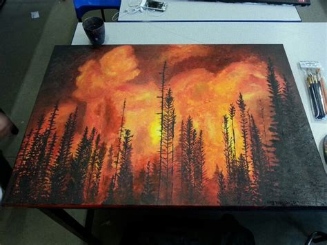 Forest Fire Acrylic Painting. Canvas Piece