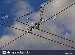"Overhead electric conductor wire with ""hangers"" supporting ..."