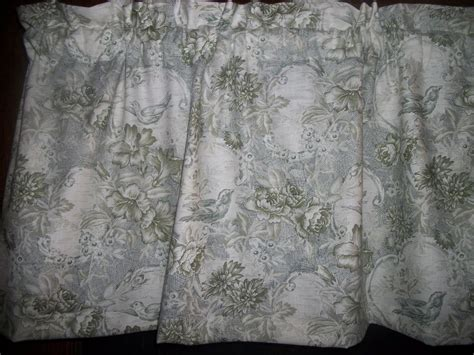 green toile birds flowers fabric window topper curtain