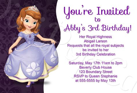 Sofia First Invitations Template