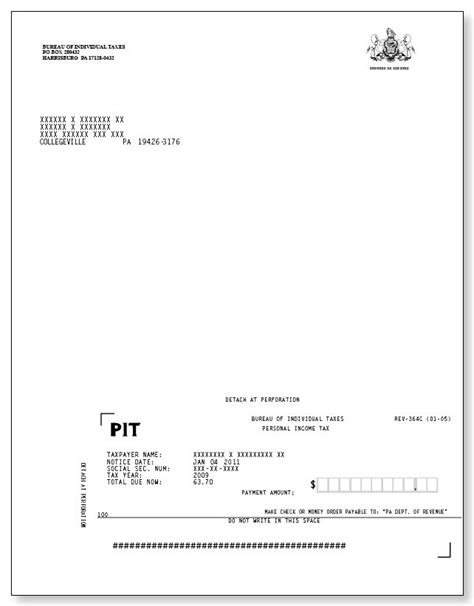 irs phone number pa pennsylvania tax notice of assessment rev 364c sle 1