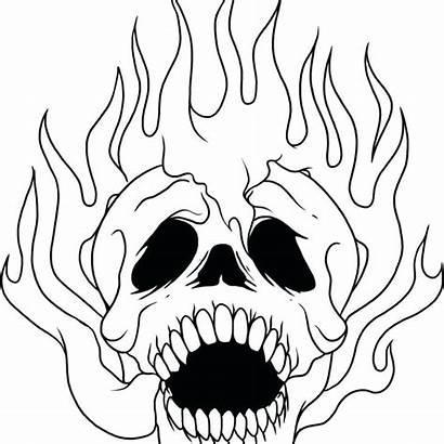 Skull Coloring Pages Sugar Evil Flames Skeleton