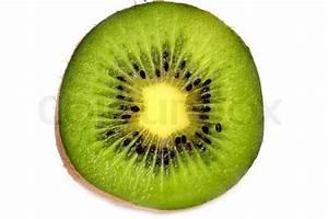 Kiwi fruit cut across isolated on white | Stock Photo ...