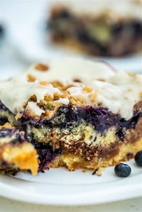 We actually liked the cake warm from the oven. Blueberry Coffee Cake Recipe Video - Sweet and Savory Meals