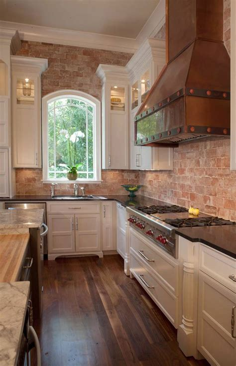 modern exposed brick wall kitchen interior designs