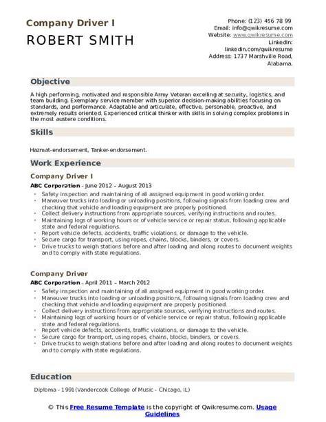 Company Resume by Company Driver Resume Sles Qwikresume