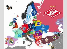 Map of clubs in Europe with most league titles for each