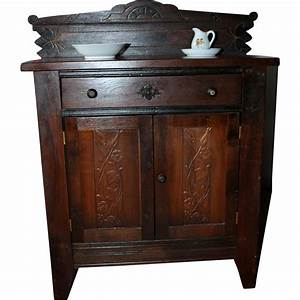Antique carved wood child39s cabinet from signaturedolls on for What kind of paint to use on kitchen cabinets for aluminum candle holders