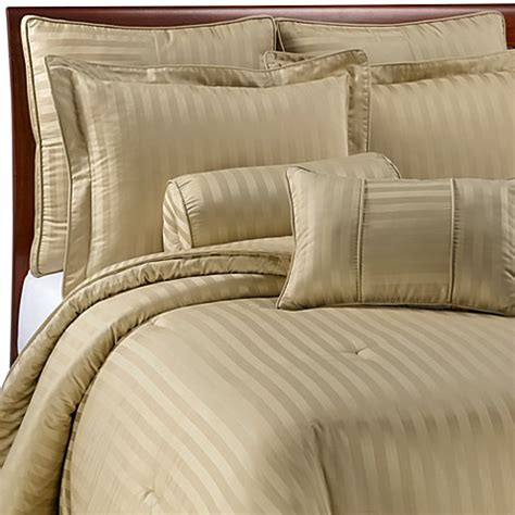 wamsutta 174 damask stripe wheat mini comforter set 100