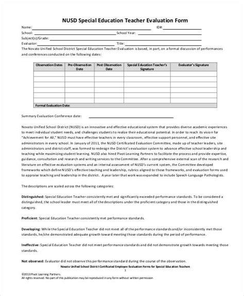 teacher evaluation form examples