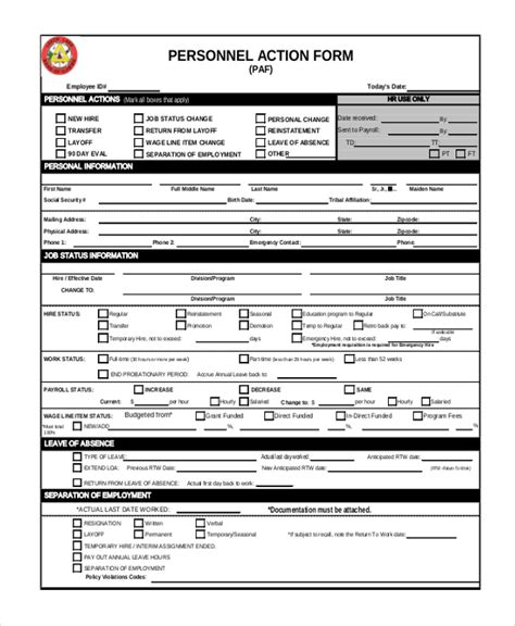 personnel action form sle form 15 free documents in doc pdf