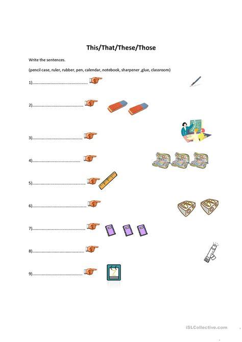 thisthatthesethose classroom objects english esl
