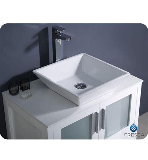 "Fresca Torino 30"" White Modern Bathroom Vanity Vessel Sink"
